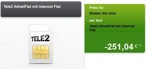 Tele2 Allnet mit 251 € Auszahlung