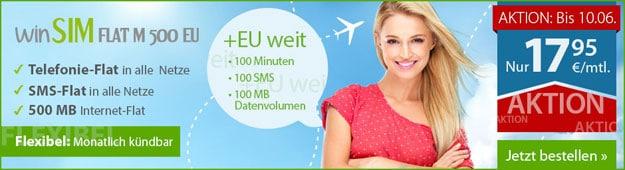 winSIM Flat M 500 EU für 17,95 € mtl.