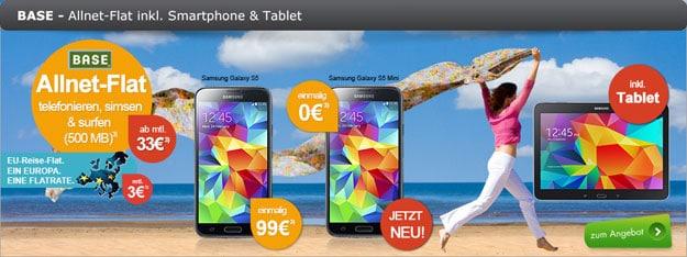 BASE all-in classic mit Samsung Galaxy S5 (Mini) und Tab 4 (10.1)