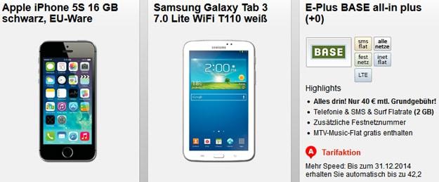 BASE all-in Plus mit Handy und Tablet