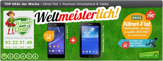 BASE all-in classic mit Sony Xperia Z2 und Samsung Galaxy Tab 3 (7.0) Lite WiFi