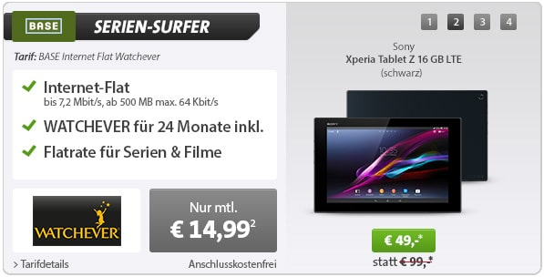 500 MB BASE Datenflat mit Watchever + Sony Xperia Tablet Z