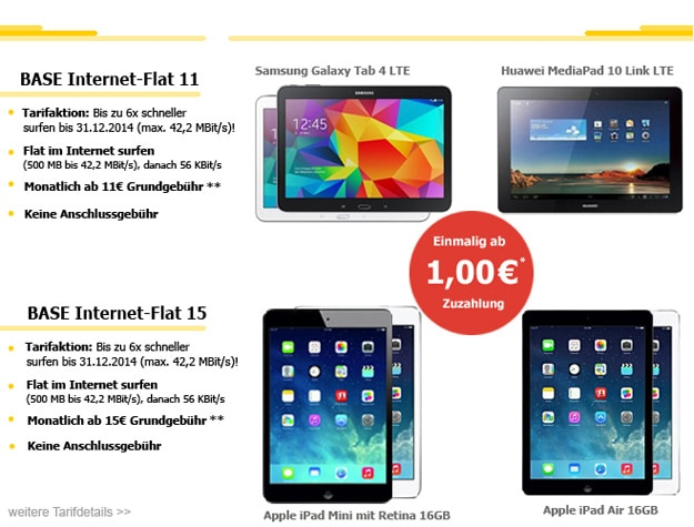 BASE Internet Flat mit Tablet