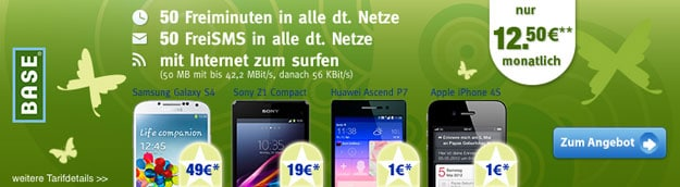 BASE pur mit Samsung Galaxy S4 oder Sony Xperia Z1 Compact