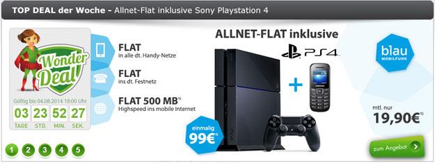 blau.de Allnet-Flat mit Playstation 4
