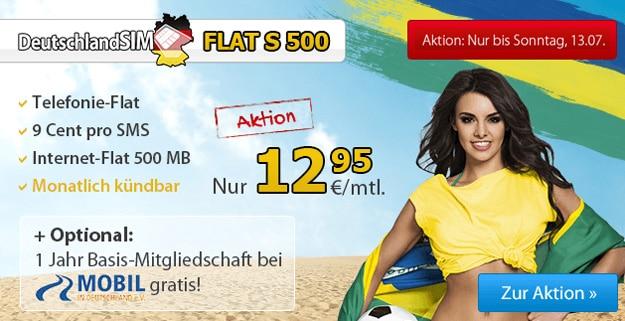 DeutschlandSIM Flat S 500 für 12,95 € mtl.