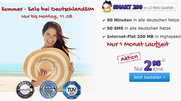 DeutschlandSIM Smart 200 für 2,95 € mtl.