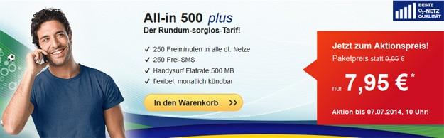hellomobil All-in 500 plus für 7,95 € mtl.