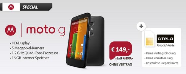 Motorola Moto G mit Otelo Prepaidkarte