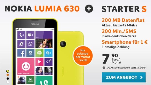 Nokia Lumia 630 mit simyo Starter S