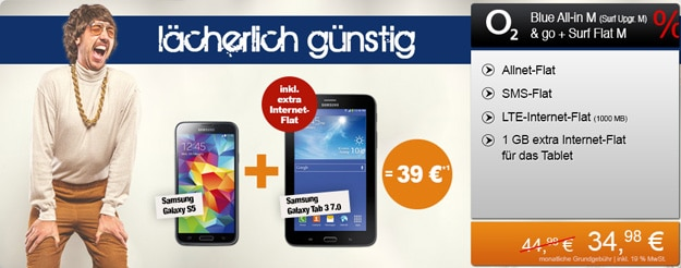 o2 Blue All-in M mit 1 GB Datenflat und Samsung Galaxy S5 + Galaxy Tab 3 (7.0) 3G
