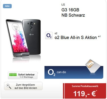 o2 Blue All-in S mit LG G3