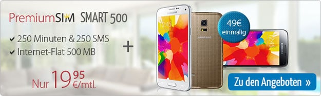 PremiumSIM Smart 500 mit Samsung Galaxy S5 Mini