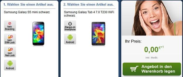 Samsung Galaxy S5 Mini + Galaxy Tab 4 (7.0) mit Real Allnet