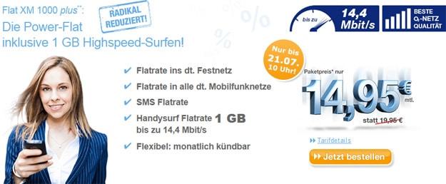 simply Flat XM 1000 plus für 14,95 € mtl.