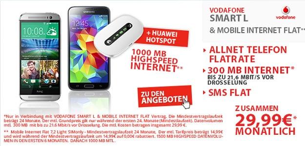 Vodafone Smart L mit WLAN-Router und Handy