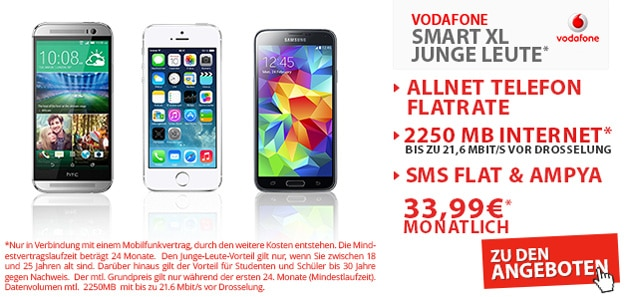 Vodafone Smart XL mit 2,25 GB Internetflat