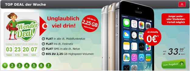 Vodafone Smart XL mit iPhone 5s