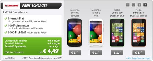 Talk Easy 100 mit Motorola Moto E und Nokia Lumia 530