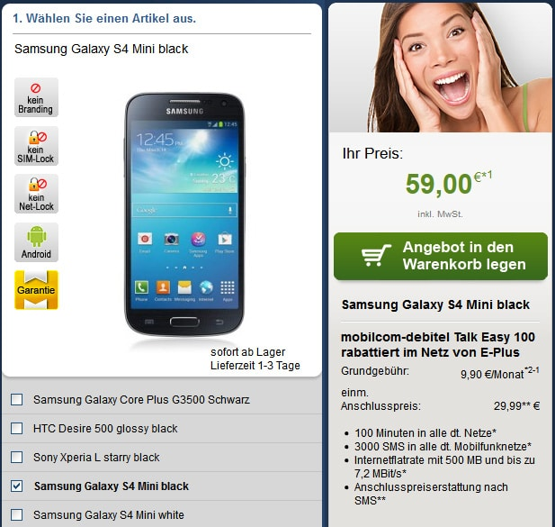 Talk Easy 100 mit Samsung Galaxy S4 Mini