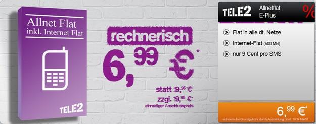 Tele 2 Allnet Flat für 6,99 € durch 251 € Auszahlung