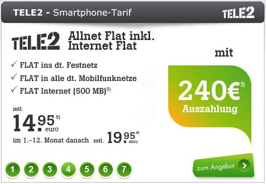 Tele2 Allnet-Flat mit 240 € Auszahlung