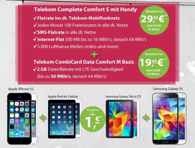 Telekom Complete Comfort S mit CombiCard und iPhone 5s + iPad Air u.a.