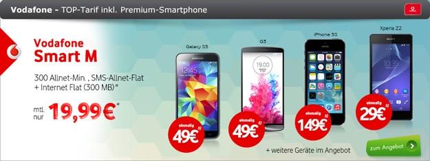 Vodafone Smart M mit LG G3, Sony Xperia Z2 u.a.