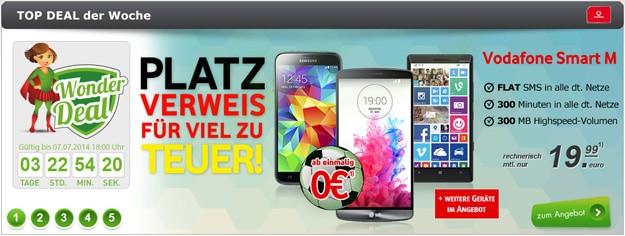 Vodafone Smart M ab eff. kostenlos + z.B. LG G3