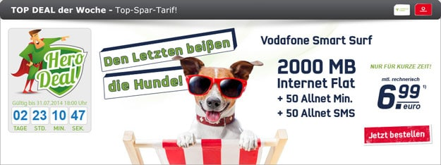 Vodafone Smart Surf mit 2 GB Internetflat