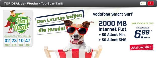 Vodafone Smart Surf mit 2 GB Internetflat