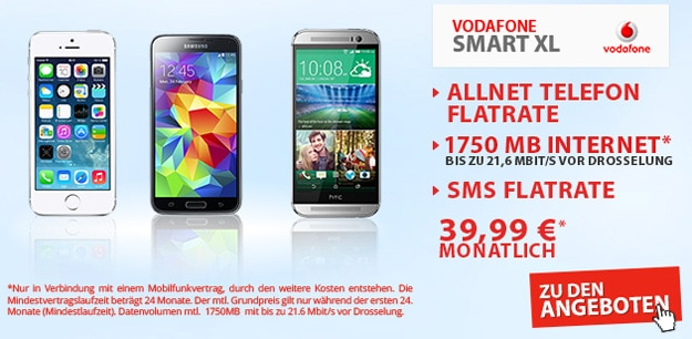 Vodafone Smart XL mit 1,75 GB Datenvolumen