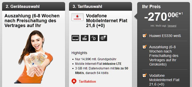 3-GB-LTE-Datentarif Vodafone