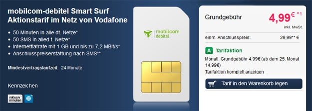 Smart Surf Vodafone für 4,99 EUR