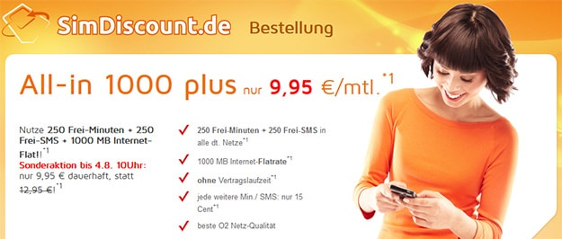 SimDiscount All-in 1000 plus für 9,95 € mtl.