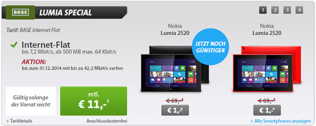 Nokia Lumia 2520 für 255 € mit BASE Internet Flat