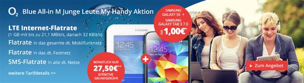 o2 Blue All-in M Junge Leute mit Samsung Galaxy S5 + Galaxy Tab 3 (7.0) Lite WiFi
