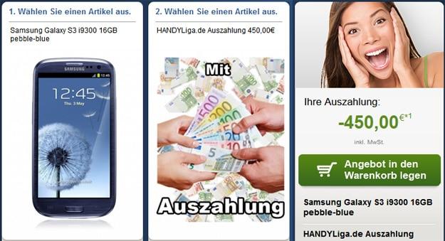Telekom Comfort M mit Samsung Galaxy S3 und 450 € Auszahlung