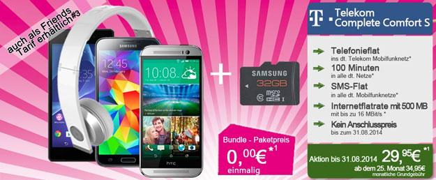 Telekom Complete Comfort S mit Handy, Kopfhörer und microSD-Karte