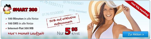 DeutschlandSIM Smart 300 für 5,95 € mtl.