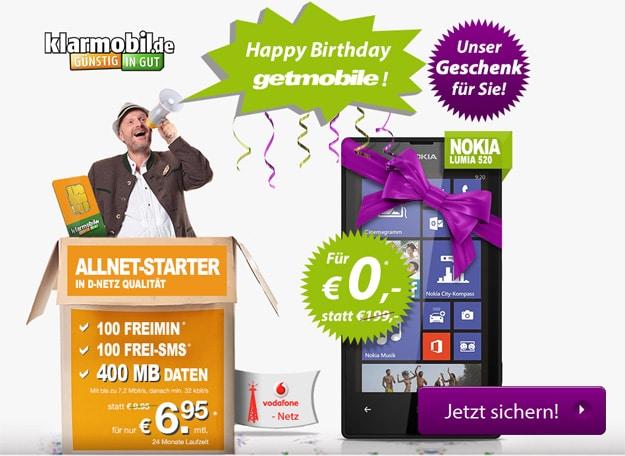 getmobile mit klarmobil Allnet-Starter + Nokia Lumia 520