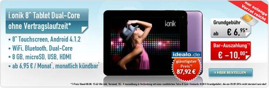 i.onik 8-Zoll-Tablet für 26,85 €