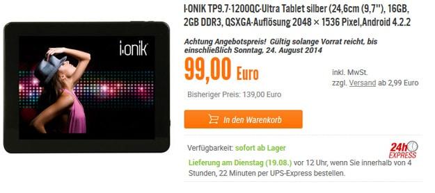 i.onik 9,7-Zoll-Tablet für 99 €