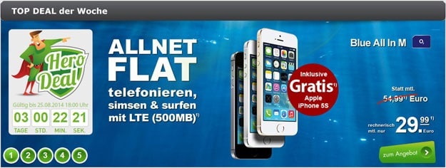 iPhone 5s 16GB gratis zu o2 Blue All-in M