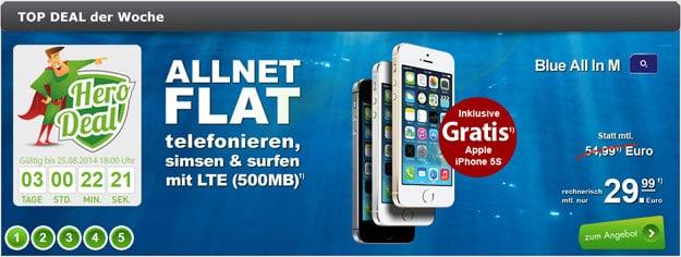 iPhone 5s 16GB gratis zu o2 Blue All-in M