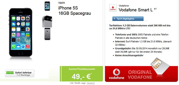 iPhone 5s mit Vodafone Smart L