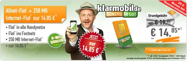 Klarmobil AllNet Spar Flat für 14,85 € mtl.