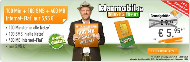 klarmobil AllNet Starter für 5,95 € mtl.