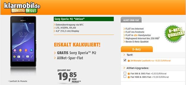 klarmobil Allnet-Spar-Flat mit Sony Xperia M2