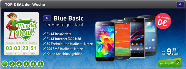 o2 Blue Basic im Wonderdeal z.B. mit Samsung Galaxy S4 Mini